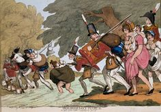 """'Soldiers on a March', 1811 etching by George Moutard Woodward. The """"Buffs"""" on the move, encumbered by theirs wives and infants."""