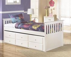 Lulu Casual White  Wood Twin Bed W/Trundle