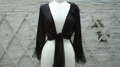 Altered Upcycled Black Noire Shrug Blouse Top by BabaYagaFashion