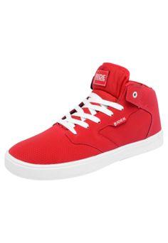 Tênis Ride Skateboard Mid Storm Vermelho, confeccionada em material sintético. Apresenta palmilha macia e solado emborrachado. Fechamento por cadarço. Os calçados Ride Skateboard possuem acabamento que proporciona durabilidade e estilo, além de solado de borracha, para maior proteção dos pés.