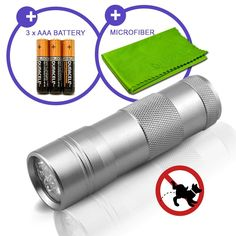 Pet Urine and Stain Detector 12 UV LED Ultraviolet Travel Size Flashlight Blacklight With Duracell AAA Batteries >>> To view further for this item, visit the image link.