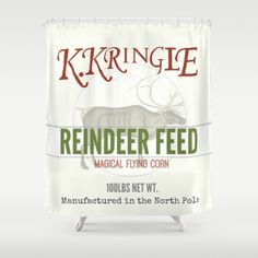 Christmas Reindeer Feed sack Shower Curtain