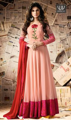 Jennifer Winget Peach Color Silk Designer Anarkali Suit  Make an adorable statement in this Jennifer Winget peach color georgette and art silk designer anarkali salwar suit. This beautiful attire is showing some amazing embroidery done with resham, patch border and embroidered work.