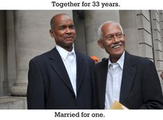 together for 33 years. married for 1. joy love equality