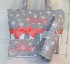 XL Quilted Gray Dandelions / Stripes Diaper Bag by MsSewItAll32, $77.00