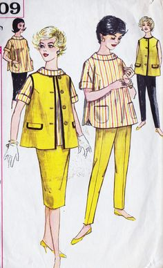 1960s Maternity Skirt, Blouse, Jacket, and Pants Vintage Sewing Pattern, Simplicity 3309 Bust 34""