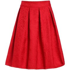 Jacquard Red Midi Skirt (17 CAD) ❤ liked on Polyvore featuring skirts, red, calf length skirts, a line skirt, a line midi skirt, red a line skirt and knee high skirts