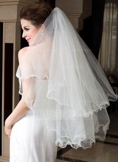 two tier fingertip bridal veils with scalloped edge 006036607 wedding veils jjshouse Wedding Veils, Wedding Party Dresses, Bridal Veils, Veil Length, Fingertip Veil, Princess Ball Gowns, Different Dresses, Event Dresses, Bridal Looks