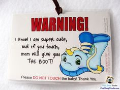2 Pack: Car Seat Sign, Don't Touch the Baby, Baby Shower Gift - Funny Blue Boot for Boys  - SPECIAL PRICE! Reg. 13.00!