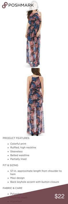 NWT Colorful Maxi Dress Black floral maxi dress.  Black base with blue and red floral pattern. Underlying dress hits above the knee.  Side slits. See third pic with product description.  I have two sizes, Medium and X-Small.  The dress comes with a small belt.  Please ask any questions regarding fit, size, fabric.  Happy poshing 😊😊😊 Iz Byer Dresses Maxi