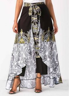 Black High Waist Printed Ruffle Pants