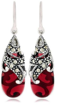Sterling Silver Marcasite and Garnet Colored Glass Teardrop Earrings
