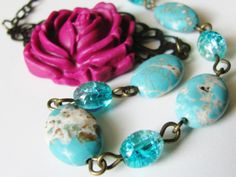 Very pretty magenta and turquoise side flower shabby chic necklace--I love this one and hope you will too :)