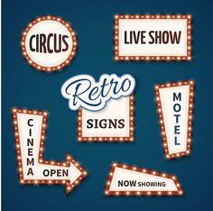 Retro Neon Bulb Vector Signs Set Billboard Templates 700