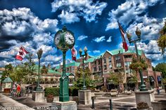 A photo art view of Oakville Town Square on Canada Day weekend.