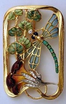 Art Nouveau plique-a-jour enameled brooch with dragonfly