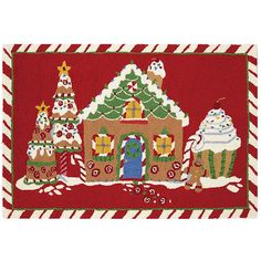 Gingerbread Joy Doormat ($70) ❤ liked on Polyvore featuring home, outdoors, outdoor decor, nocolor and peking handicraft