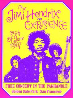 Jimi Hendrix Experience San Francisco Poster Decorate your Wall. American Roots Uncoated Vintage Bristol Paper – x Suitable for Framing The Jimi Hendrix Experience Golden Gate Park - San Fr Woodstock, Rock Posters, Band Posters, Hippie Posters, Movie Posters, Affiche Jimi Hendrix, Concert Rock, Jimi Hendricks, San Francisco