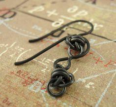 Hypoallergenic Niobium Earrings - Little Twists in Black. $12.00, via Etsy.