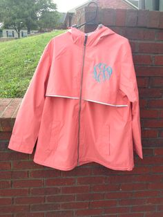 Aqua Monogrammed Rain Jacket | Monogrammed Rain Jackets ...
