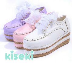 Creepers Rocking Horses Cork Platform Shoes Fairy Kei Cult Party Kei Sweet Lolita