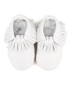 Look at this C'est Le Pied White Fringe Leather Booties on #zulily today!