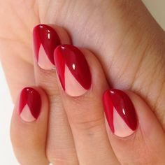 A color-blocked manicure in Valentine hues