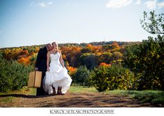 Color full Autumn after wedding session.  Connecticut Wedding Photography