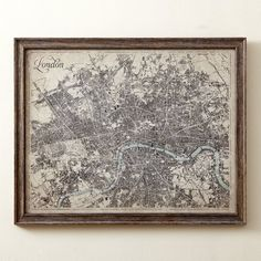 Hand-printed in sepia to give it a vintage feel, this detailed map of London, reproduced from the Rand McNally's Atlas, is matted and framed in walnut wood for long-lasting style. London Map, Paris Map, Framed Maps, Framed Prints, Painting Frames, Painting Prints, Paintings, Map Pictures, Black Picture Frames