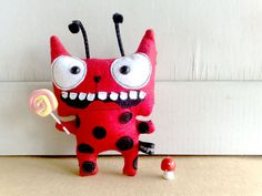 Laurance the Lady bug cat by zeropumpkin on Etsy, $32.00