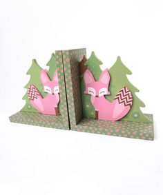 Another great find on #zulily! Pink Fox Bookend Set by Beriwinkle #zulilyfinds