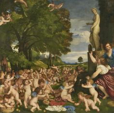 "Tiziano - ""Ofrenda a Venus"" (1518-1519, óleo sobre lienzo, 172 x 175 cm, Museo del Prado, Madrid)"