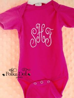 Hot pink monogram onesie $15.00
