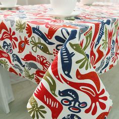 1Pcs Red Blue Fish Pattern Cotton tablecloth Wedding Party Table cloth Cover Home decor decoration Tablecloths 44114 #Affiliate