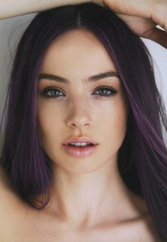 Purple Highlights for Straight Long Hair.