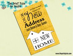 Modern Moving Announcement Cards, DIY, PRINTABLE, Modern Yellow, new address, moving, we have moved, by The Print Pixie