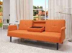 Convertible Sofa Bed Orange Contemporary Modern Seat Recliner Furniture New #Doesnotapply #ContemporaryMidCenturyModernTransitionalUrban