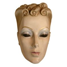 Art Deco Advertising Sculptural Woman's Face Cosmetics Display for Max Factor, 3 feet tall (c.1930s) Hollywood, California
