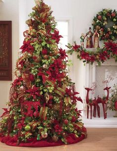 RAZ decorated Christmas Tree photo Red and Green Tree