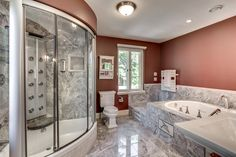 Contemporary Master Bathroom with complex granite tile floors & Pedestal sink in Beverly, MA | Zillow Digs