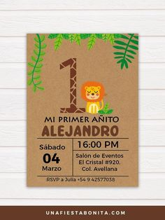 invitation for safari themed first year Safari Theme Party, Safari Birthday Party, Jungle Party, Frozen Birthday Party, First Birthday Parties, First Birthdays, Party Themes, Lion Birthday, Baby Boy 1st Birthday
