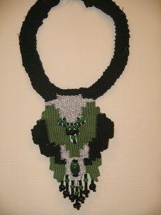 Iordanaki Anastasia .necklace:cotton,agate beads,glass beads,metal clasp
