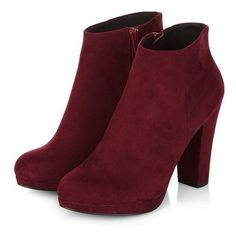Dark Red Zip Side Heeled Boots ❤ liked on Polyvore featuring shoes, boots, ankle booties, mid heel booties, round cap, mid-heel boots, zippered ankle booties and zipper booties