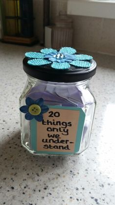 DIY jar gift. For best friend/ sister/ partner. Personalised, thoughtful gift…