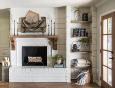 The Severns family wanted a home that was traditional, yet functional and inviting. This cozy fireplace and unique built-in shelving helped to achieve that feel for the family. We'd be willing to bet that more than a few family gatherings happen here! Get the details from this week's Fixer Upper on the blog today. MagnoliaMarket.com #FixerUpper