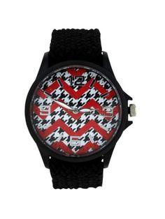 $10.50 Houndstooth and Red Chevron Black Fabric Band Watch