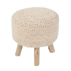 Shop for Solid Pattern Bleached sand/Bleached sand Wool 16-inch Pouf. Get free shipping at Overstock.com - Your Online Furniture Outlet Store! Get 5% in rewards with Club O! - 17289962