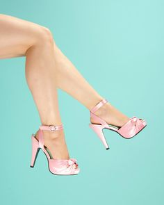 Bettie Pink Satin Heel with Ankle Strap and Peep Toe.  The Bettie from Pinup Couture Shoes is an Old Hollywood dream in satin with a gathered and knotted vamp, peep toe, an ankle strap, and a perfect retro heel.  An ideal wedding shoe!