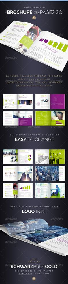 Brochure Square 20 Pages Series 4 — InDesign Template #financial #journal • Download ➝ https://graphicriver.net/item/brochure-square-20-pages-series-4/3928309?ref=pxcr