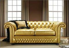 Springvale Leather Furniture are manufacturers producing quality chesterfield sofas, leather suites, arm and sofa beds. All our furniture is handcrafted and made in the UK Gold Furniture, Leather Furniture, Leather Sofa, Gold Leather, Gold Couch, Elegant Sofa, Soft Furnishings, Home Decor Items, Love Seat